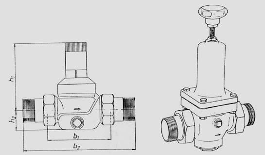 Pressure reducing valve for water, PN 16
