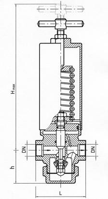 Pressure reducing valve, springloaded